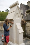 Dave Crouch putting the final touches to the new gate pillars at Carisbrooke Cemetery, IOW.
