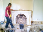 Fixing marble fire place